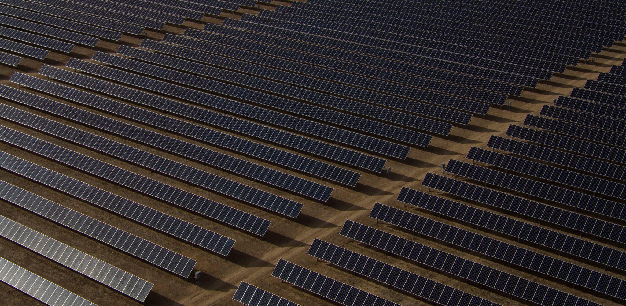 Neat rows of solar panels in Loveland, California.